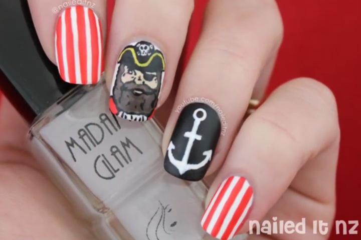 Pirate Nautical Nail Tutorial