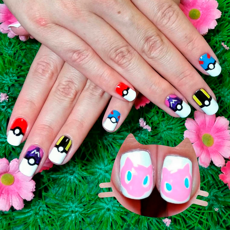 "<p>Pok&eacute; ball nails (pok&eacute; ball, master ball, ultra ball, and great ball) and Mew nails by <a href=""https://www.instagram.com/kawaiiklaws/"">@kawaiiklaws</a></p>"