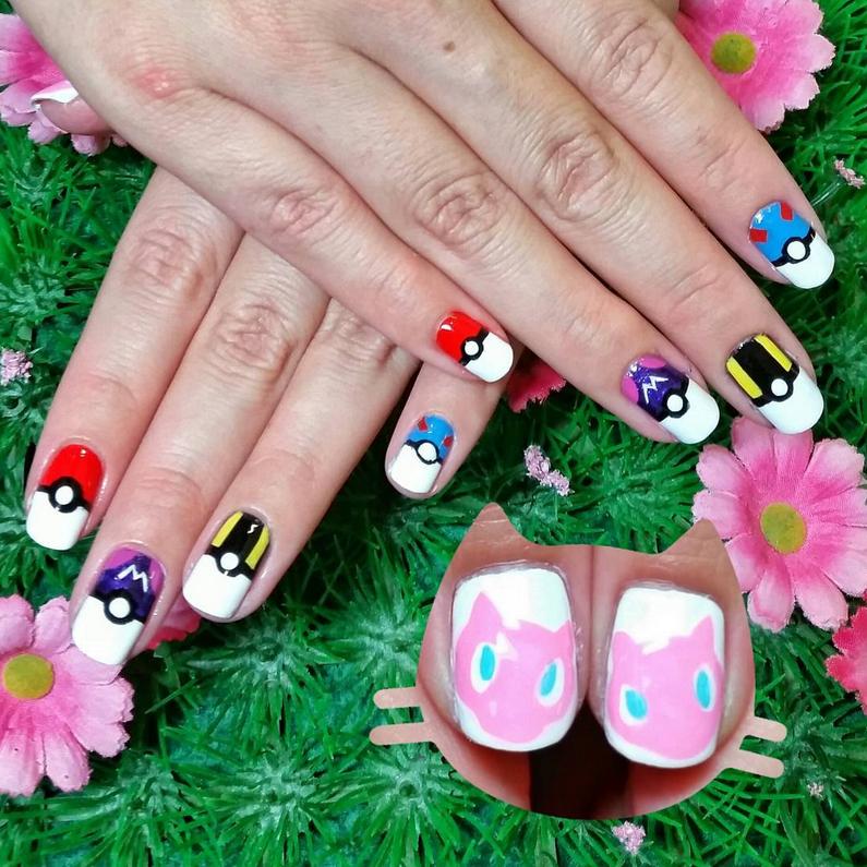 "<p>Pok&eacute; ball nails (pok&eacute; ball, master ball, ultra ball, and great ball) and Mew nails by <a href=""https://www.instagram.com/kawaiiklaws/"">@kawaiiklaws</a></p>"