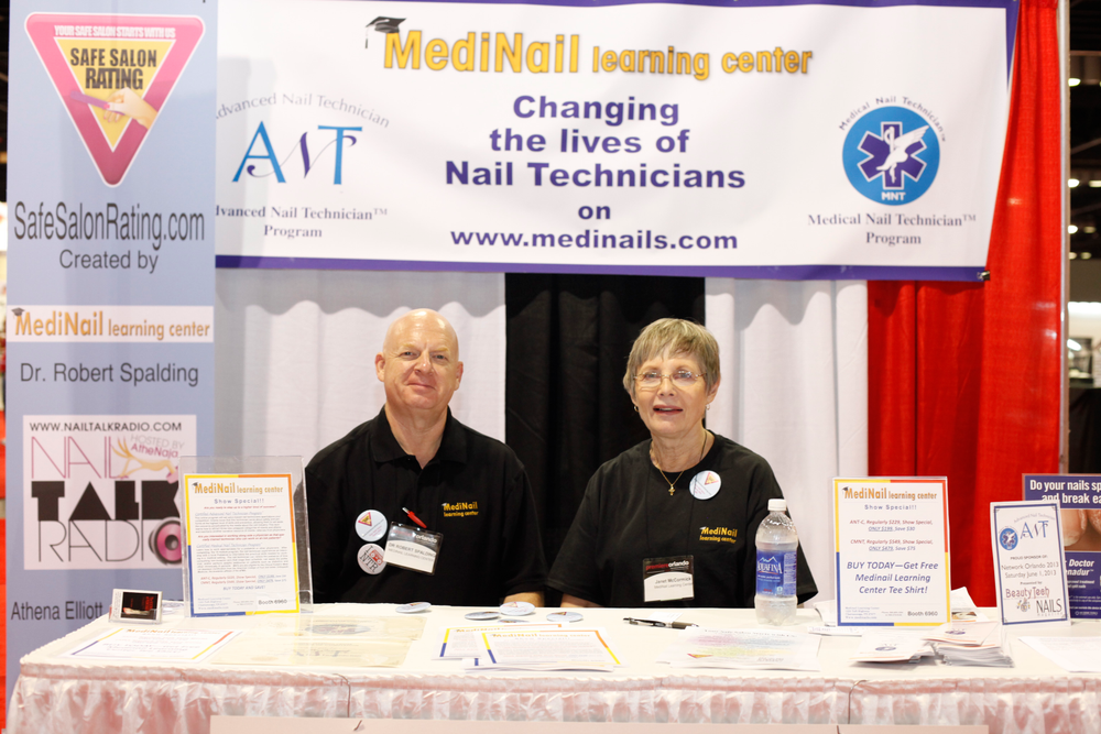 <p>Dr. Spalding and Janet McCormick of MediNail Learning Center help nail techs keep their services safe.</p>