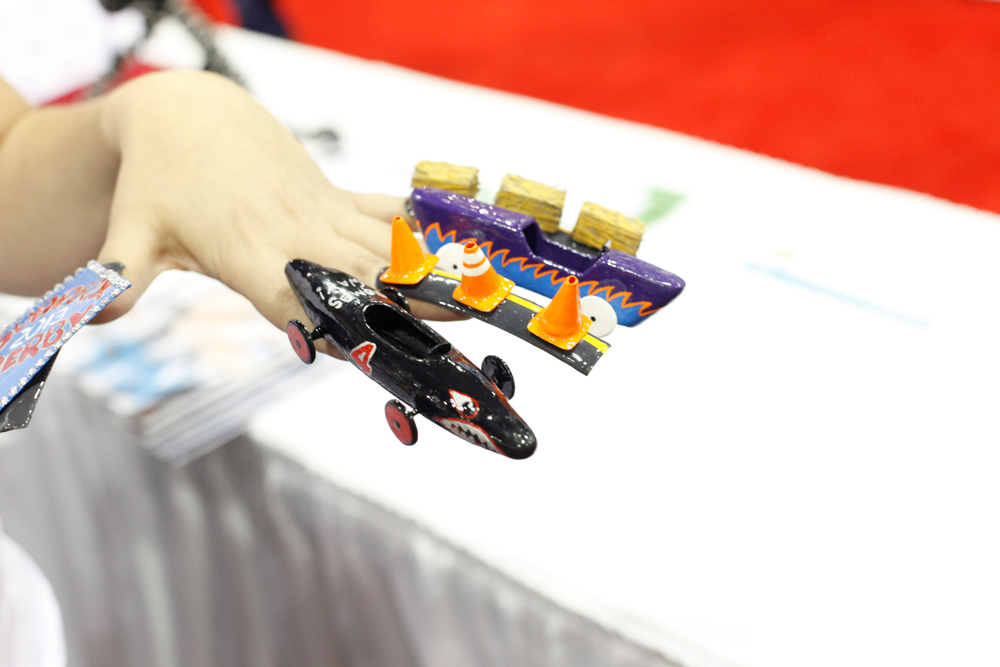 <p>Nubar's Amanda Lenher created these soap box derby-themed nails for the 3-D fantasy nail art competition at the show.</p>