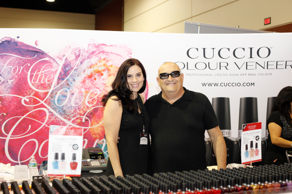 <p>Elaine Watson and Tony Cuccio debuted the Cuccio Colour Veneer booth with every polish color in the line.</p>