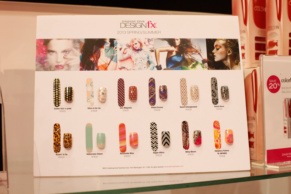 <p>Dashing Diva showed what you can do with the 2013 spring/summer collection of DesignFX nail appliqu&eacute;s on nail tips.</p>