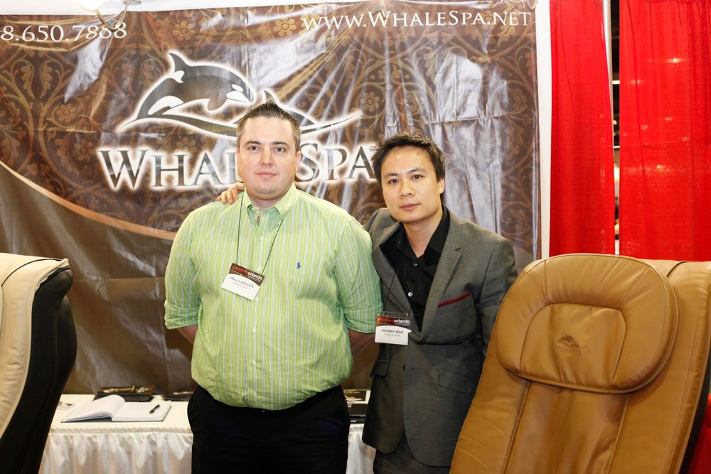 <p>Whale Spa&rsquo;s James Adcock and Johnny Ngo promoted Whale Spa&rsquo;s newest pedicure chairs.</p>