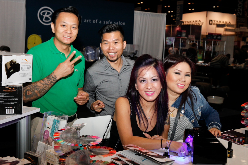 <p>Show attendees try out Bio Seaweed Gel's newest LED light and gel-polish colors.</p>