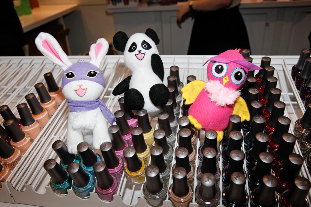 <p>Morgan Taylor&rsquo;s mascots Super Bunny, Pandamonium, and Owl helped promote the company&rsquo;s Hello Pretty! line.</p>