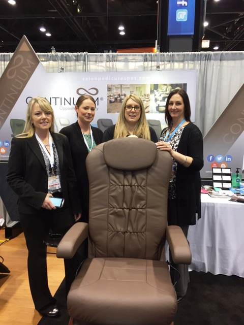 <p>Continuum Footspas' Connie Weissling, Renee Gorelik, Jamie Rivers, and Dana Carini welcomed attendees to the show with a few of their sleek products including the Continuum Echo pedicure chair.</p>