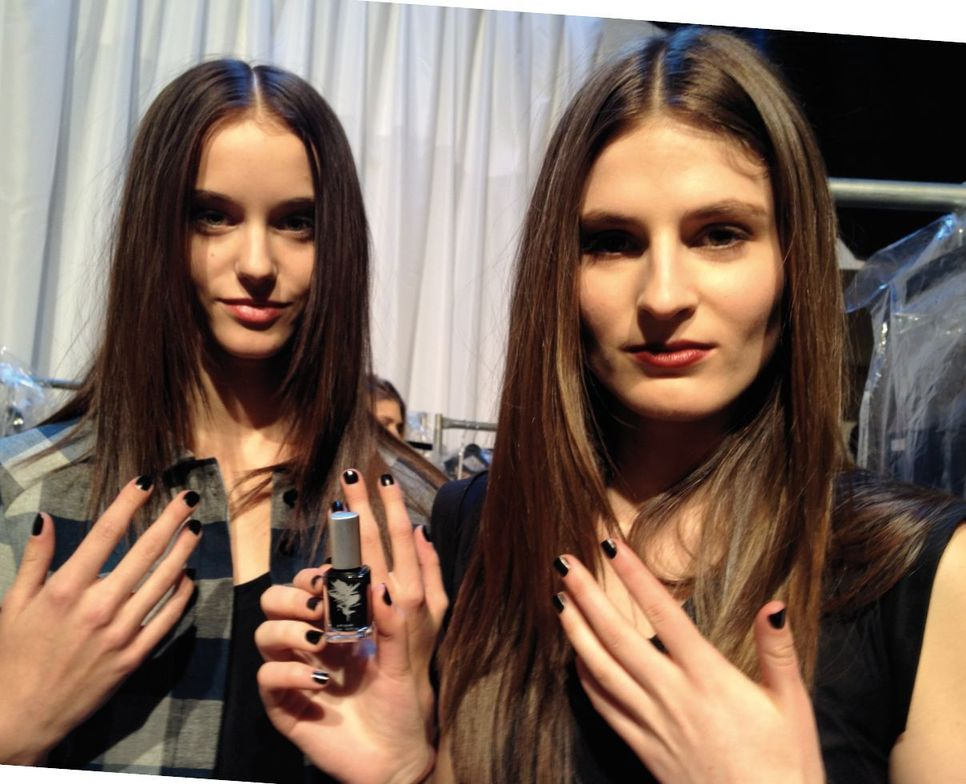 """<p class=""""TDP"""">The mood was elegant and punk rock backage at the Tatania Inglis show, with <strong>Priti NYC Polish</strong> in Nigra nailing it on the fingernails.</p>"""