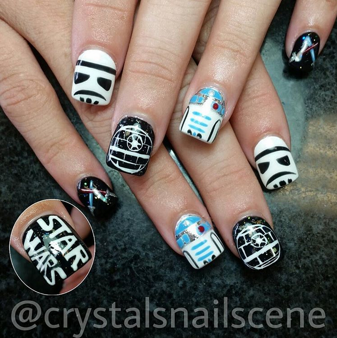 "<p>Stormtrooper, R2D2, Death Star nails by <a href=""https://instagram.com/crystalsnailscene"">Crystal Hoang, Salons by JC</a>, Woodbury, Minn.</p>"