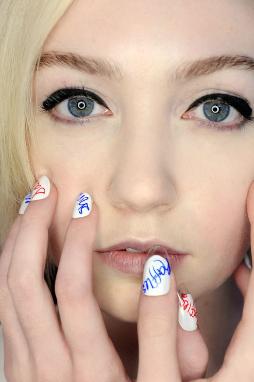 <p>Rachel Antonoff&rsquo;s country club collection was paired with BFF nails. Like the names of some of Antonoff&rsquo;s friends that were stitched on shoes in the collection, these nails by <strong>CND</strong> in Brilliant White were tagged with family monikers in blue and red Sharpies.</p>