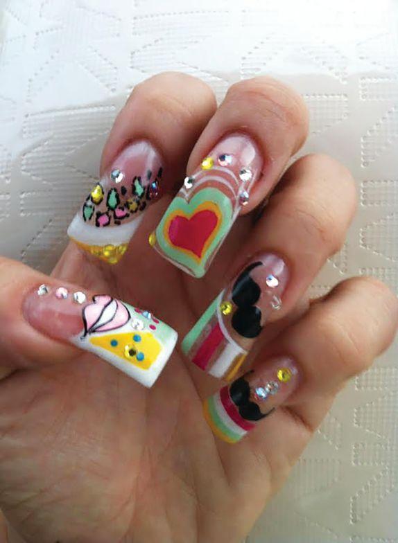 <p>Mexican nail tech Roberta Flores created this vibrant nail design.</p>