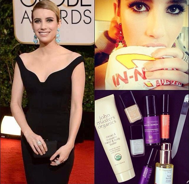 <p>Celebrity manicurist Steph Stone used Chanel nail polish in Beige to bedeck Emma Roberts' nails for the Golden Globes. Image via @stephstonenails.</p>