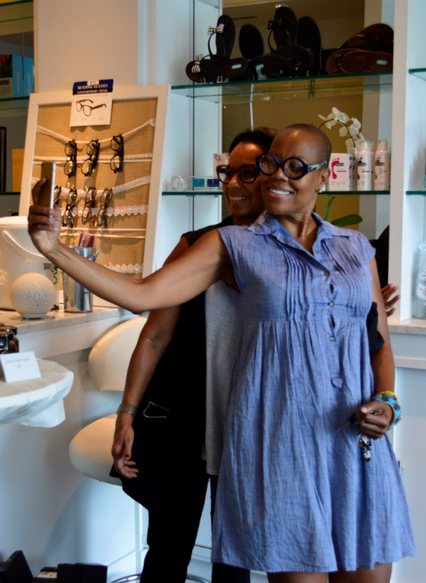 <p>Maisie teaching Sandra how to selfie at the Emerald Door in Silver Spring, Md.</p>