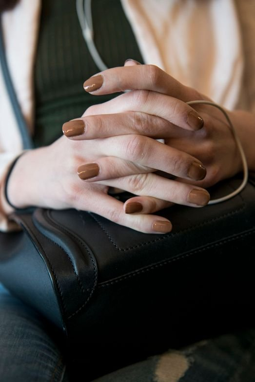 <p>Jin Soon Choi was inspired by khaki, toffee, and a blush palette for the nails at Karen Walker</p>