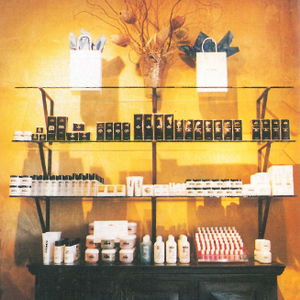 An old fashioned credenza adds a warm touch to the display of product at Gadabout's Speedway...