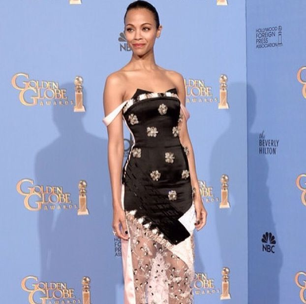 <p>Jenna Hipp used her own polish in Night Cap to cap off Zoe Saldana's Golden Globes nails. Image via @nailinghollywood.</p>