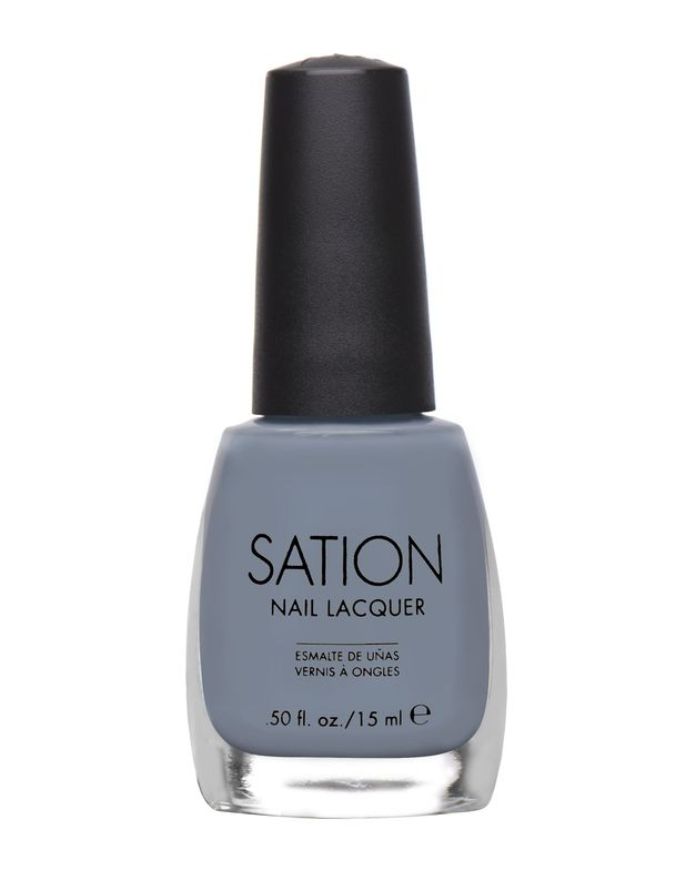 <p><strong>Sation Nail Lacquer</strong> in Stirring Silver 9011 is a silvery grey with a smooth satin finish.</p>