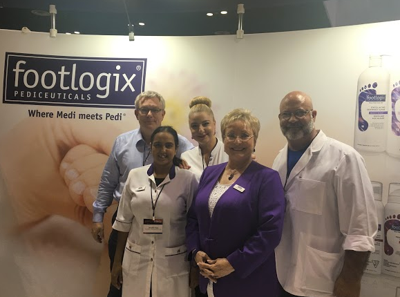 <p>Footlogix hosted a One Foot Challenge to demostrate callus treatment products. From left: Murray Smith, Tanya Palladina,&nbsp;Reggie Stephens, Jennifer Paul, and&nbsp;Katharin von Gavel&nbsp;</p>