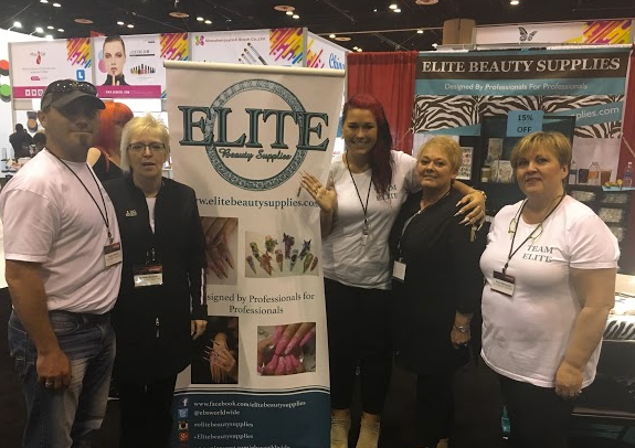 <p>Elite Beauty Supplies' Joseph Byklum, Cherie Byklum, Amy Gustafon, Eva Beanear, and Diane Macquid. The brand presented its line of pigment powders.&nbsp;</p>