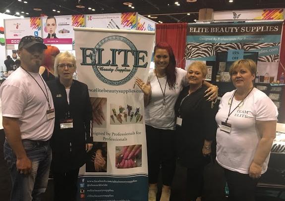 <p>Elite Beauty Supplies' Joseph Byklum, Cherie Byklum, Amy Gustafon, Eva Beanear, and Diane Macquid. The brand presented its line of pigment powders.&nbsp;</p>