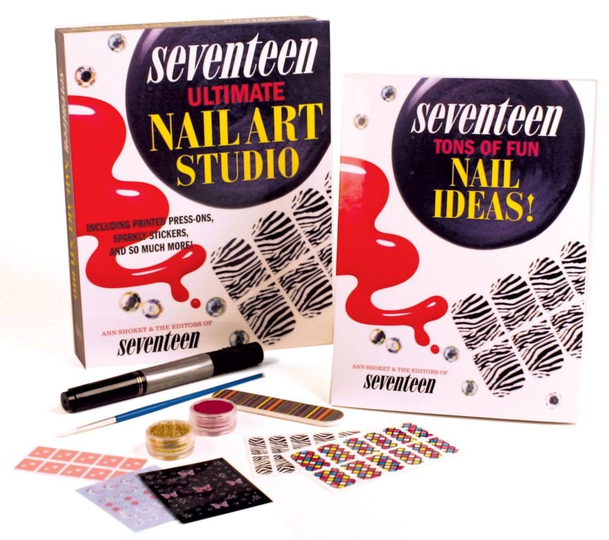 <p><em>Seventeen: Ultimate Nail Art Studio</em> by Ann Shoket and Editors of <em>Seventeen Magazine</em> <br /> This 32-page full-color book lets you practice what it preaches. It comes with a 4-sided buffer, four sets of manicure stickers, two sets of pedicure stickers, a nail art pen, 100 stick-on studs in a variety of colors and designs, nail stencils, a brush, and a tube of glitter powder.</p>