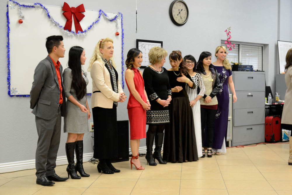 <p>ABC's Tam Nguyen, VietSALON managaing editor Anh Tran, NAILS Magazine editor Erika Kotite, ABC's Linh Nguyen, CND national sales manager for schools Jan Zanettini, and instructors at ABC congratulated every nail school graduate.</p>