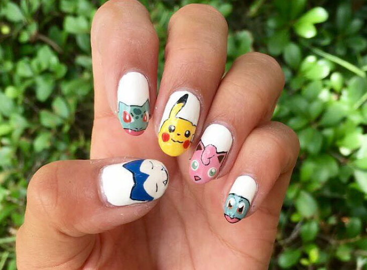 """<p>Snorlax, Bulbasaur, Pikachu, Jigglypuff, and Squirtle nails by <a href=""""https://www.instagram.com/simmysnailaddiction/"""">@simmysnailaddiction</a></p>"""