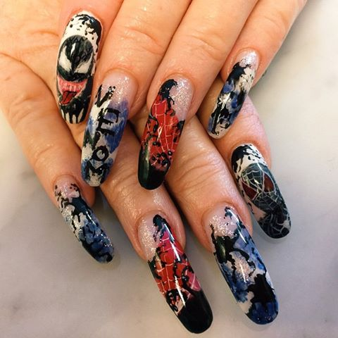 "<p>Venom nails by Amy Oung, <a href=""https://instagram.com/amygelz"">@amygelz</a>, Warwick, R.I.</p>"