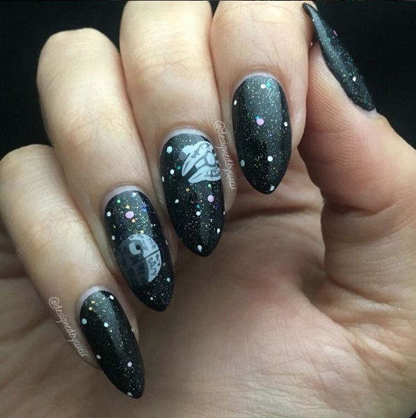 "<p>Death Star and Milennium Falcon nails by <a href=""http://www.instagram.com/designedbycucu"">Crystal Gutierrez Rodriguez</a></p>"