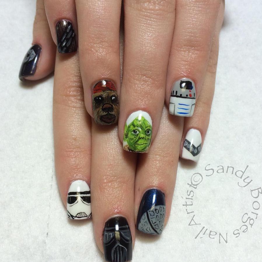"<p>Star Wars nails by <a href=""https://www.instagram.com/sandyborgesnailartist"">Sandy Borges</a>, Nampa, Idaho</p>"