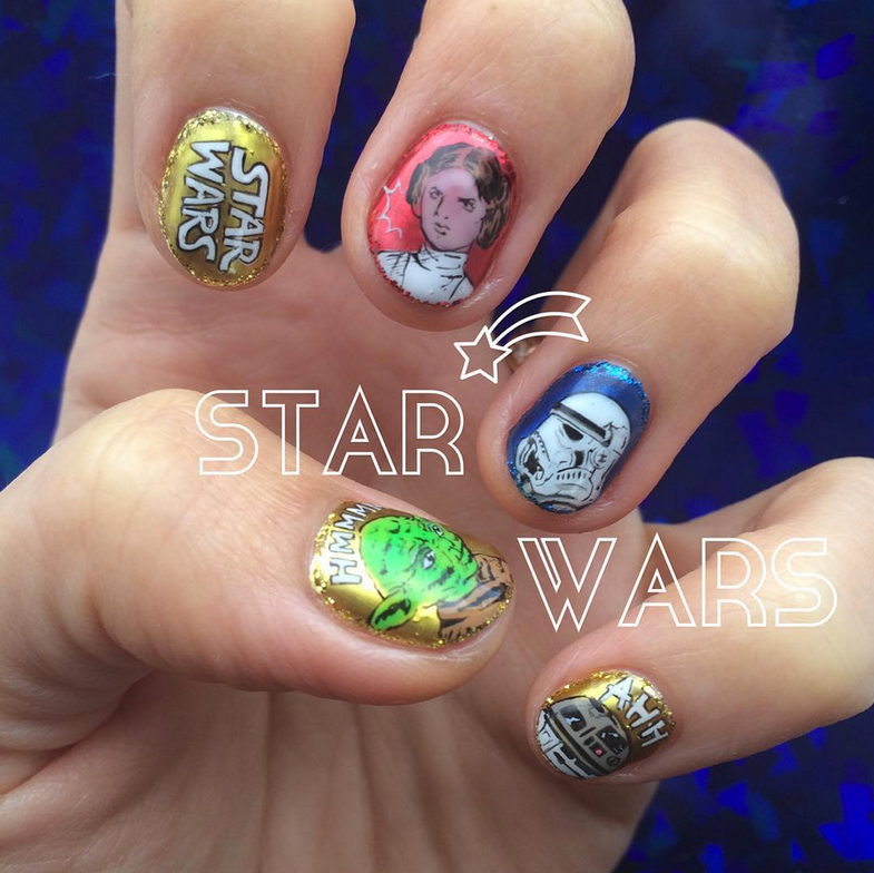 "<p>Princess Leia, Stormtrooper, Yoda, R2D2 nails by <a href=""https://www.instagram.com/nail_daisy"">Nail Daisy</a></p>"