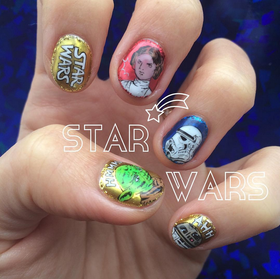 "<p>Princess Leia, Stormtrooper, Yoda, R2D2 nails by <a href=""https://www.instagram.com/nail_daisy"">Nail Daisy</a></p>"