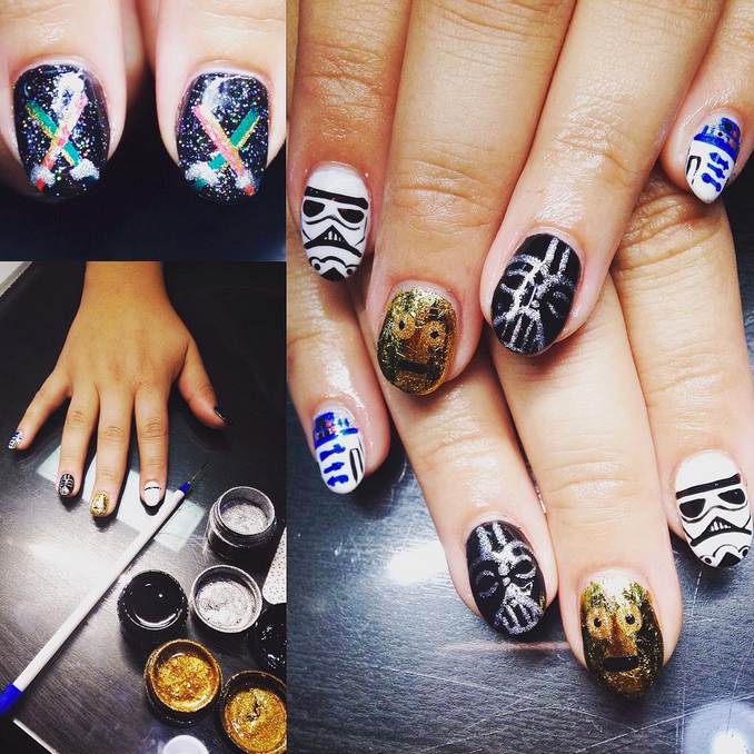 "<p>Glitter Star Wars nails by <a href=""https://instagram.com/nailzbychristina"">Christina Landeros, <span id=""react-root""><span data-reactid="".0.1.0.0:0.1.1.2""><span data-reactid="".0.1.0.0:0.1.1.2.$text0:0:$end:0"">Salon Blush, Lompoc, Calif.</span></span></span></a></p>"