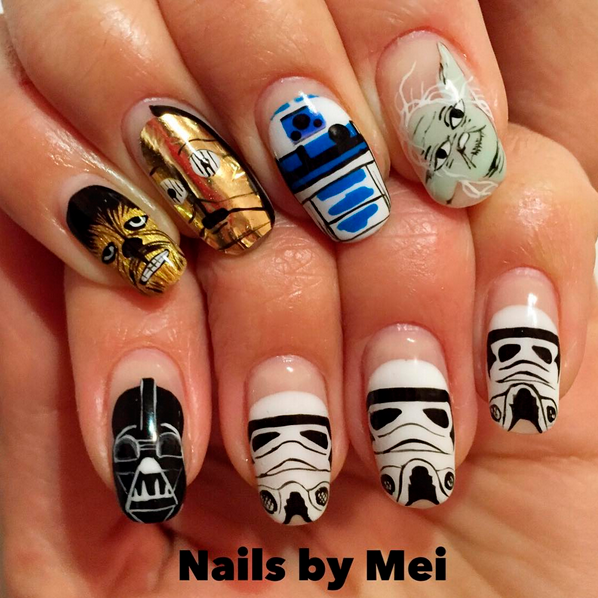 "<p>Chewbacca, C3PO, R2D2, Yoda, Darth Vader, Stormtrooper nails by <a href=""https://www.instagram.com/ciaomanhattan2012/"">@ciaomanhattan2012</a>, NYC</p>"