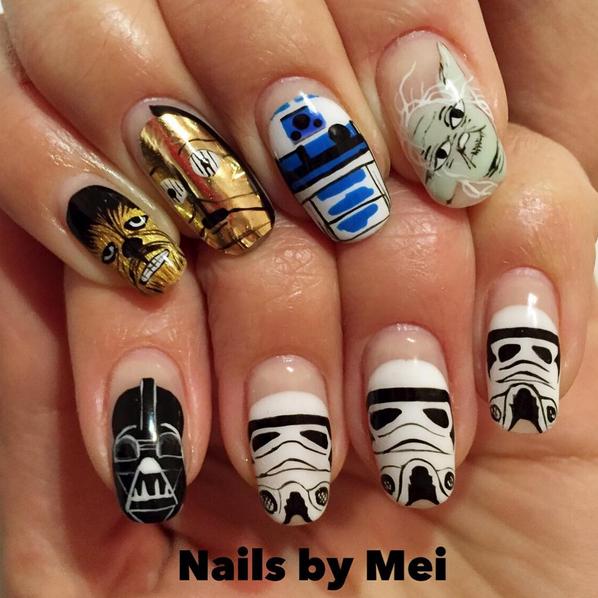 "<p>Chewbacca, C3PO, R2D2, Yoda, Darth Vader, Stormtrooper nails by <a href=""https://www.instagram.com/ciaomanhattan2012/"">@ciaomanhattan2012</a>, NYC</p>"