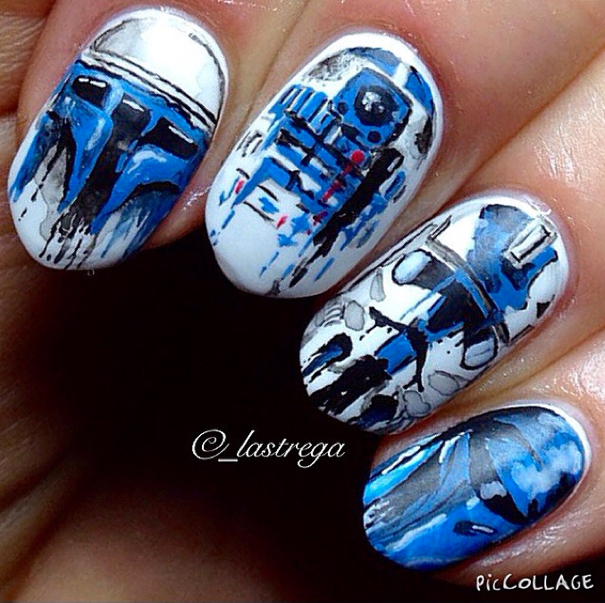 "<p>Bleeding Star Wars nail art by <a href=""https://instagram.com/_lastrega"">Maja Koperwas</a>, Warsaw, Poland, inspired by artist <a href=""https://www.facebook.com/SeeMyAmbitionsFadeOut/timeline"">@seemyambitionsfadeout</a></p> <p>&nbsp;</p>"