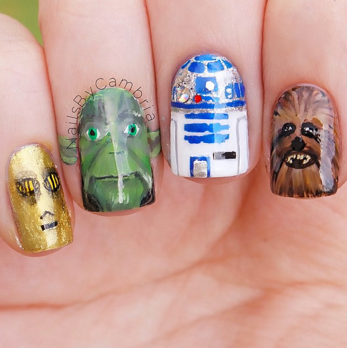 "<p>C3PO, Yoda, R2D2, Chewbacca nails by <a href=""https://instagram.com/nailsbycambria"">Cambria Proskine</a></p>"