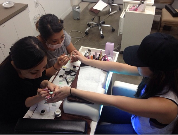 <p>Hailee Steinfeld chose gel-polish nail art from Es Nail L.A. Image via @haileesteinfeld</p>