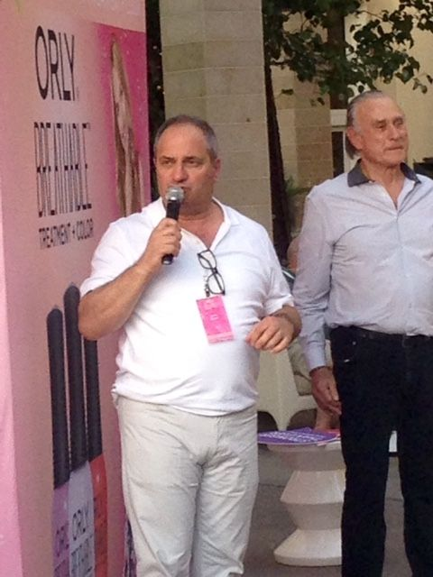 <p>John Galea and Jeff Pink at Orly's poolside party</p>