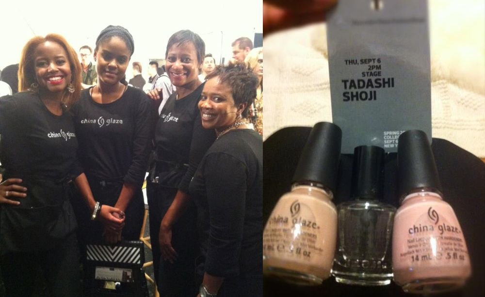 <p>Models at the Tadashi Shoji show wore <strong>China Glaze</strong> Nude and Innocence. Lead manicurist Joy Johnson and her assistants Alison Norris, Bernie Clark, and Gina Hicks applied China Glaze Fast Freeze Quick Dry Spray and Seche Vite Dry Fast Top Coat to ensure quick, smudge-free nails.</p>
