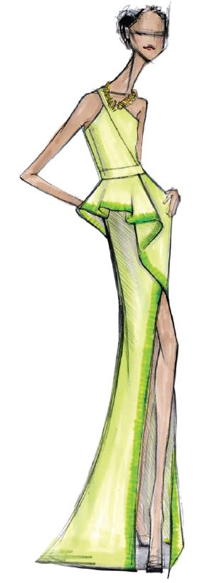 <p>The prevalence of green this spring is undeniable. Vibrant yellow-green <strong>Tender Shoots</strong> is invigorating, active, and cheerful. <em>Illustration by Rachel Roy. Originally appeared in The Pantone Fashion Color Report Spring 2013.</em></p>
