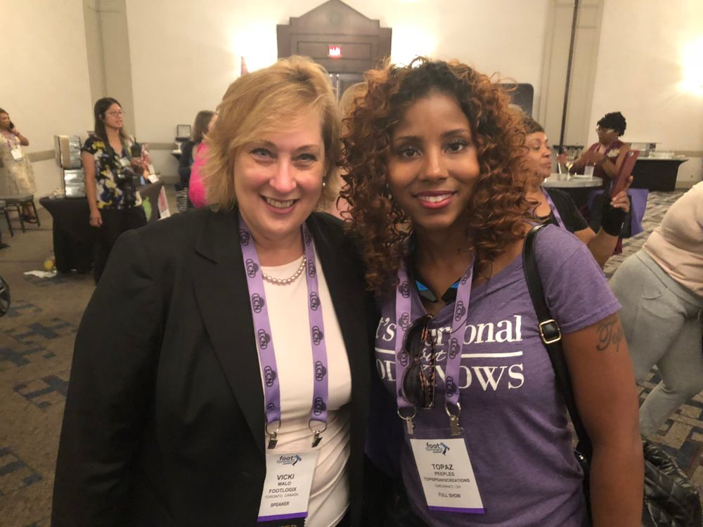 <p>Vicki Malo of Footlogix and Topaz Peeples at the Welcome Reception.</p>