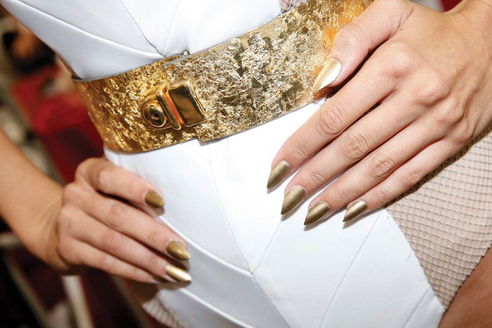 <p>A close-up of the pointed nails worn by one of Peter Phan's models.</p>