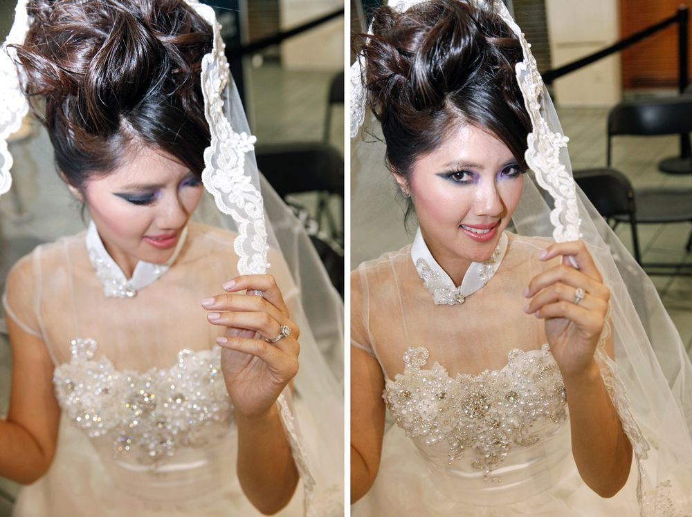 <p>Donna Tran poses in a wedding gown from Cynthia Bui's bridal collection.</p>