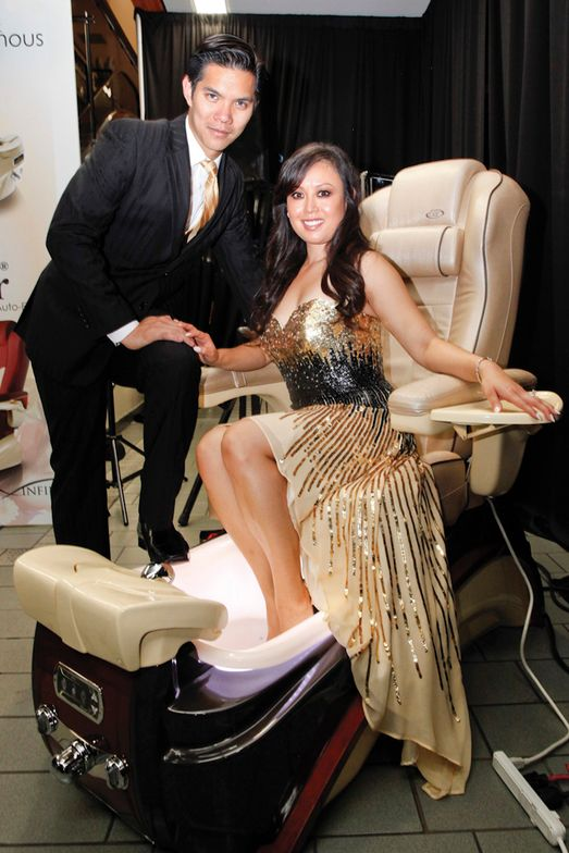 <p>Lexor's Jennifer Nguyen, and her husband Bryan Nguyen both double as models promoting the company's latest pedicure chairs. Lexor was the principal sponsor of the event.</p>