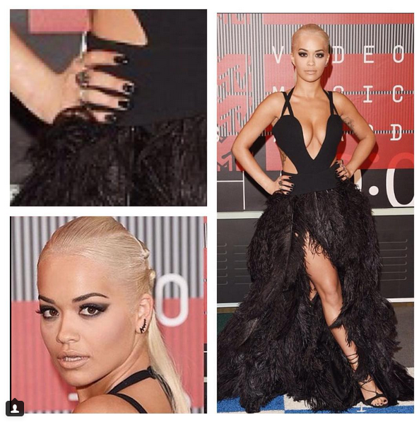<p>Tom Bachik gave Rita Ora a black manicure for the VMAs.</p>