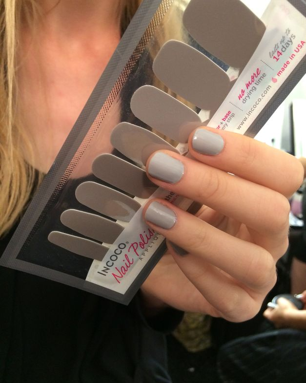 <p>To complement Tam's designs and the dewy hair and makeup look, the Incoco team applied nail color shade City Chic, an effortlessly sleek gray. Photo courtesy of Incoco.&nbsp;</p>