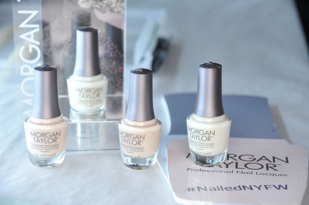 <p>Edwards used one coat of Morgan Taylor Heaven Sent and a layer of In The Nude for Herve Leger. Photo courtesy of Morgan Taylor.</p>