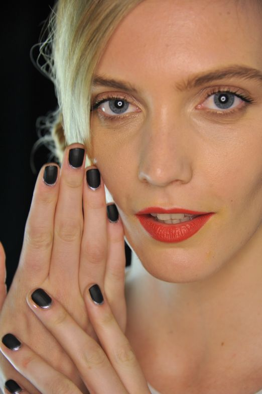 <p>Gina Edwards' black and silver creation for Carmen Marc Valvo, using Morgan Taylor nail lacquer. Photo courtesy of Morgan Taylor.</p>