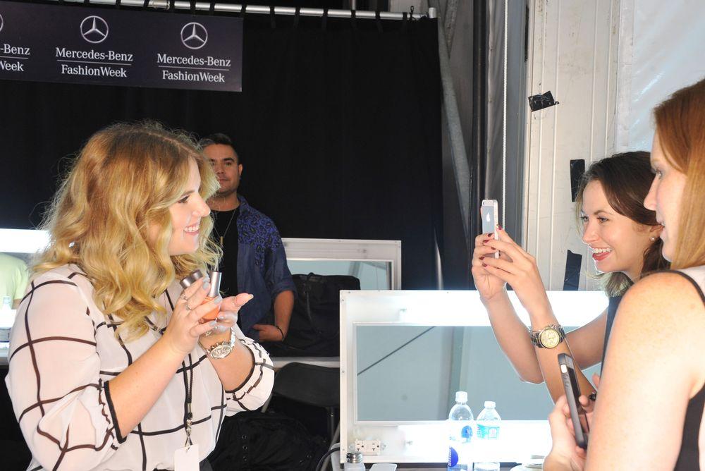 <p>Taylor Daniel backstage at Morgan Taylor for NYFW. Photo courtesy of Morgan Taylor.</p>